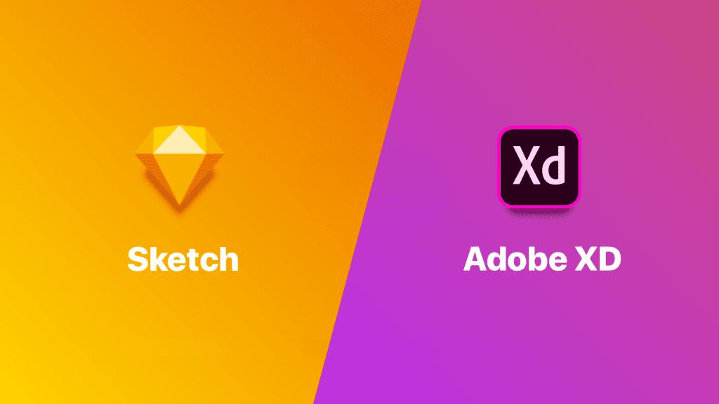 sketch uygulaması ile adobe xd uygulamasının logoları yan yana