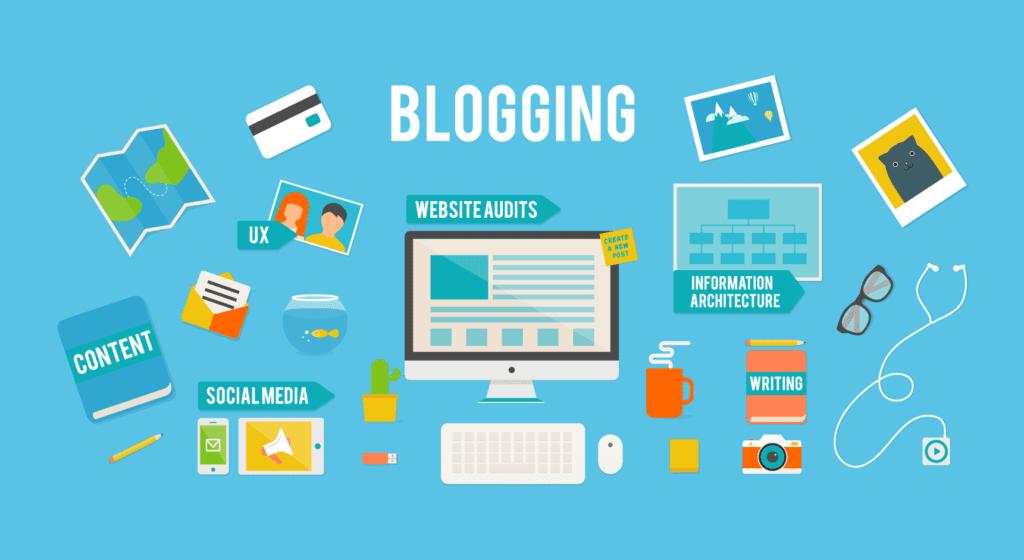 Üst tarafında blogging yazan bir vektörel çalışma