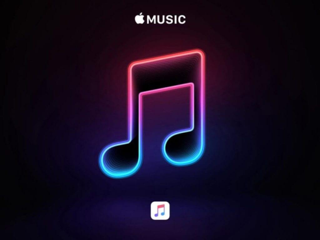 siyah font üzerinde nota ve Apple Music yazısı