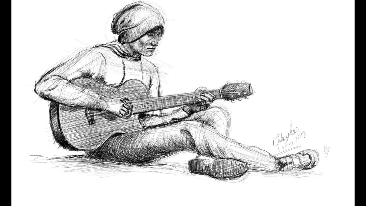 karakalem resimde gitar çalan adam