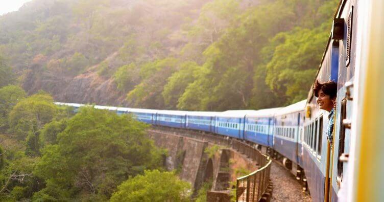 ormanlık alanda giden bir tren