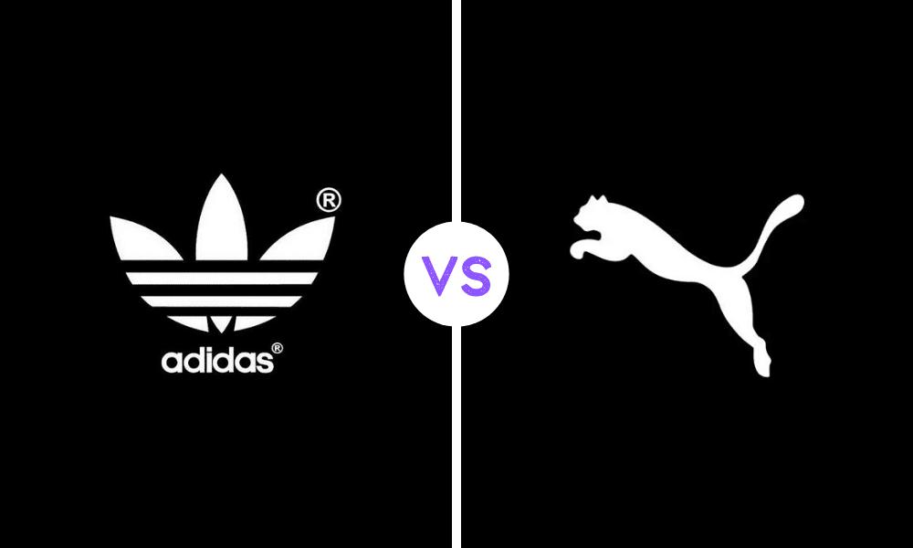 solda siyah bir font üzerinde adidas yazısı ve üzerinde logosu ve sağda siyah bir font üzerine leopar logosu
