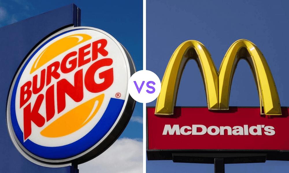 solda burger king yazılı tabela ortada beyaz daire içinde vs yazısı sağda mcdonals yazan tabela
