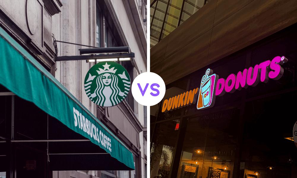 Solda yeşil bir tabelada Starbucks coffee yazısı ve üzerinde logosu sağda tabelada Dunkin' Donuts yazısı ve üzerinde logosu