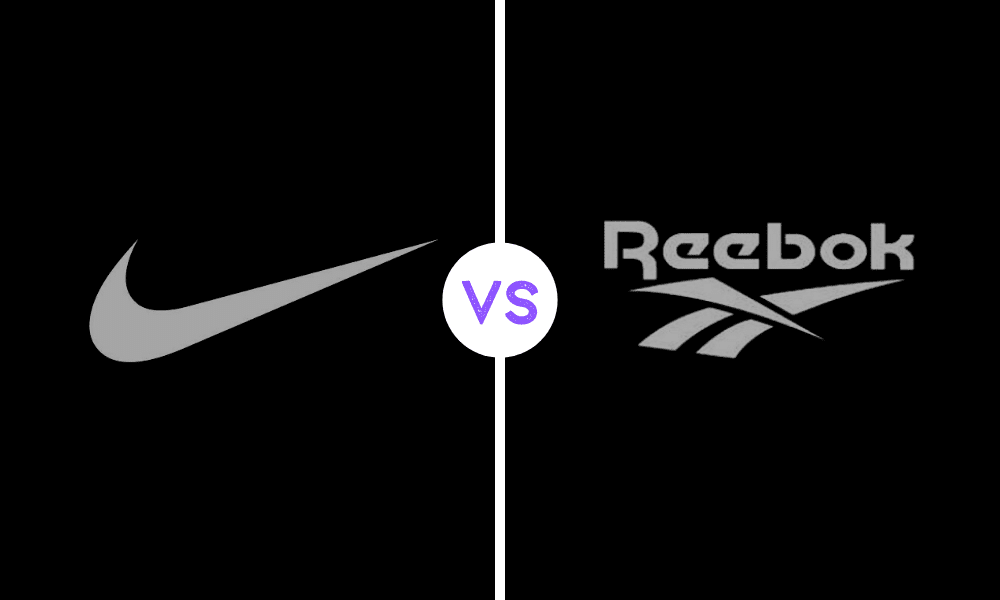 solda siyah bir fon arkasında bir logo ortada beyaz daire içinde vs yazısı sağda reebok yazısı ve altında logosu
