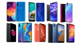 renkli renkli birkaç tane akıllı telefon
