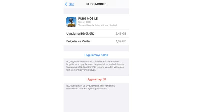 iphoneda pubg silme ekranı