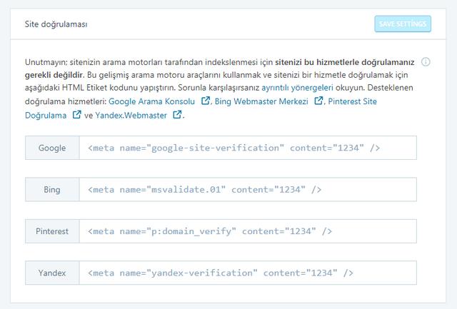 jetpack eklentisinde site doğrulama sayfası görseli